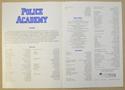 POLICE ACADEMY Cinema Exhibitors Synopsis Credits Booklet - BACK