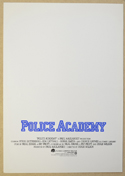 POLICE ACADEMY Cinema Exhibitors Synopsis Credits Booklet - INSIDE