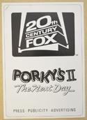 PORKY'S II : THE NEXT DAY Cinema Exhibitors Campaign Press Book