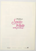 SNOW WHITE AND THE SEVEN DWARFS Cinema Exhibitors Synopsis Credits Booklet - BACK